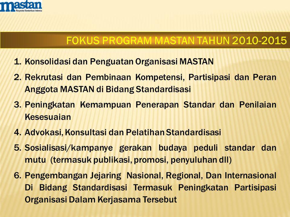 FOKUS PROGRAM MASTAN TAHUN 2010-2015 1.Konsolidasi dan Penguatan Organisasi MASTAN 2.Rekrutasi dan Pembinaan Kompetensi, Partisipasi dan Peran Anggota MASTAN di Bidang Standardisasi 3.Peningkatan Kemampuan Penerapan Standar dan Penilaian Kesesuaian 4.Advokasi, Konsultasi dan Pelatihan Standardisasi 5.Sosialisasi/kampanye gerakan budaya peduli standar dan mutu (termasuk publikasi, promosi, penyuluhan dll) 6.Pengembangan Jejaring Nasional, Regional, Dan Internasional Di Bidang Standardisasi Termasuk Peningkatan Partisipasi Organisasi Dalam Kerjasama Tersebut