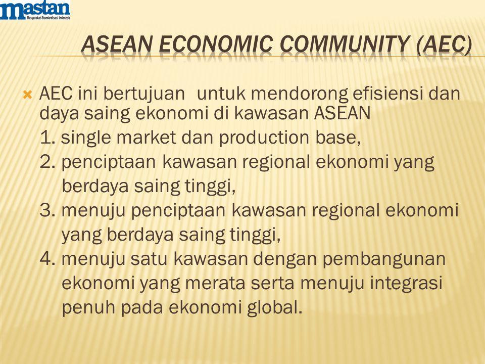  AEC ini bertujuan untuk mendorong efisiensi dan daya saing ekonomi di kawasan ASEAN 1. single market dan production base, 2. penciptaan kawasan regi