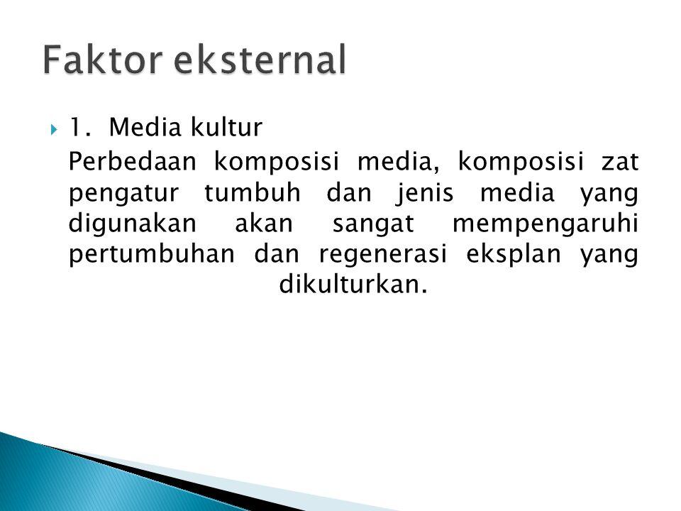  1. Media kultur Perbedaan komposisi media, komposisi zat pengatur tumbuh dan jenis media yang digunakan akan sangat mempengaruhi pertumbuhan dan reg