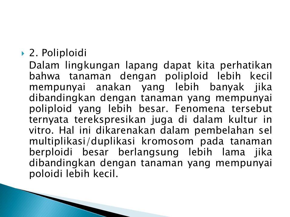  2. Poliploidi Dalam lingkungan lapang dapat kita perhatikan bahwa tanaman dengan poliploid lebih kecil mempunyai anakan yang lebih banyak jika diban