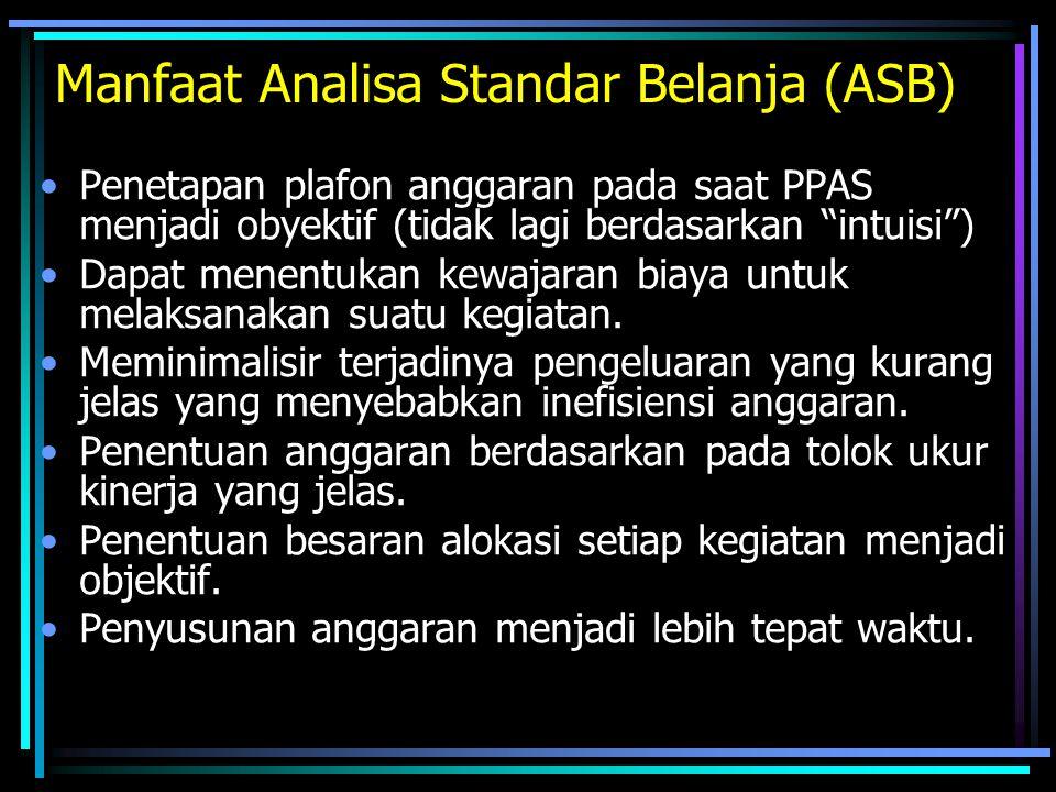 """Manfaat Analisa Standar Belanja (ASB) Penetapan plafon anggaran pada saat PPAS menjadi obyektif (tidak lagi berdasarkan """"intuisi"""") Dapat menentukan ke"""