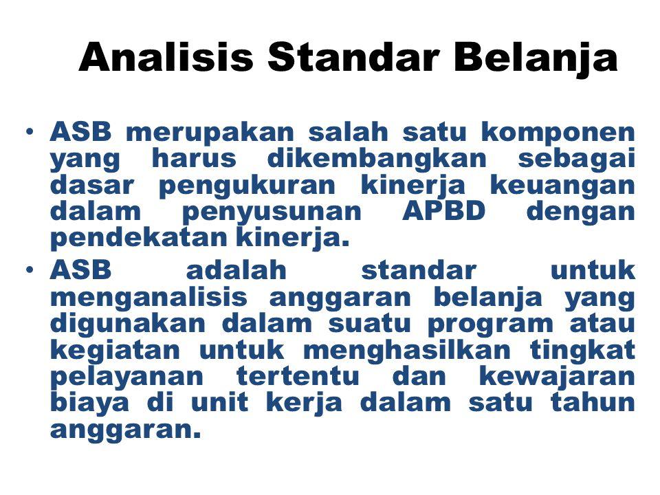 Analisis Standar Belanja ASB merupakan salah satu komponen yang harus dikembangkan sebagai dasar pengukuran kinerja keuangan dalam penyusunan APBD den