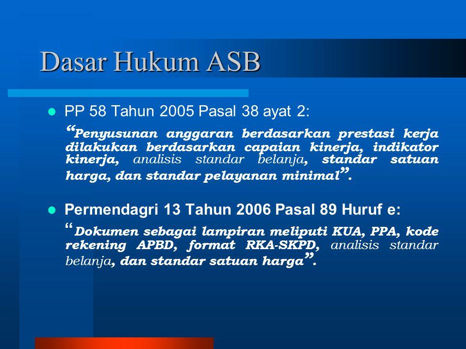 """Dasar Hukum ASB PP 58 Tahun 2005 Pasal 38 ayat 2: """" Penyusunan anggaran berdasarkan prestasi kerja dilakukan berdasarkan capaian kinerja, indikator ki"""