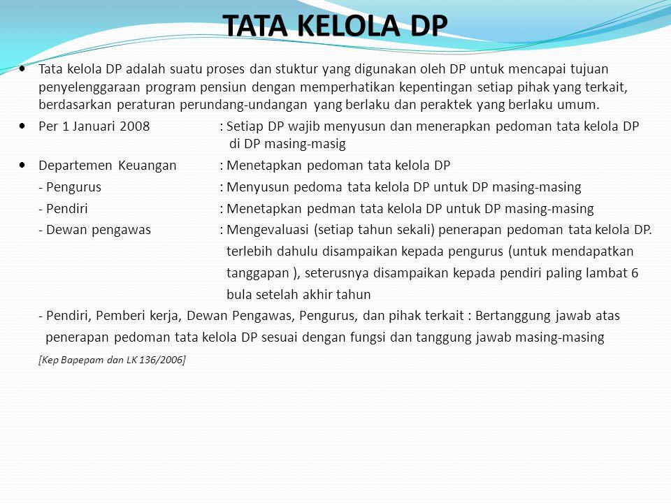 TATA KELOLA DP Tata kelola DP adalah suatu proses dan stuktur yang digunakan oleh DP untuk mencapai tujuan penyelenggaraan program pensiun dengan memperhatikan kepentingan setiap pihak yang terkait, berdasarkan peraturan perundang-undangan yang berlaku dan peraktek yang berlaku umum.