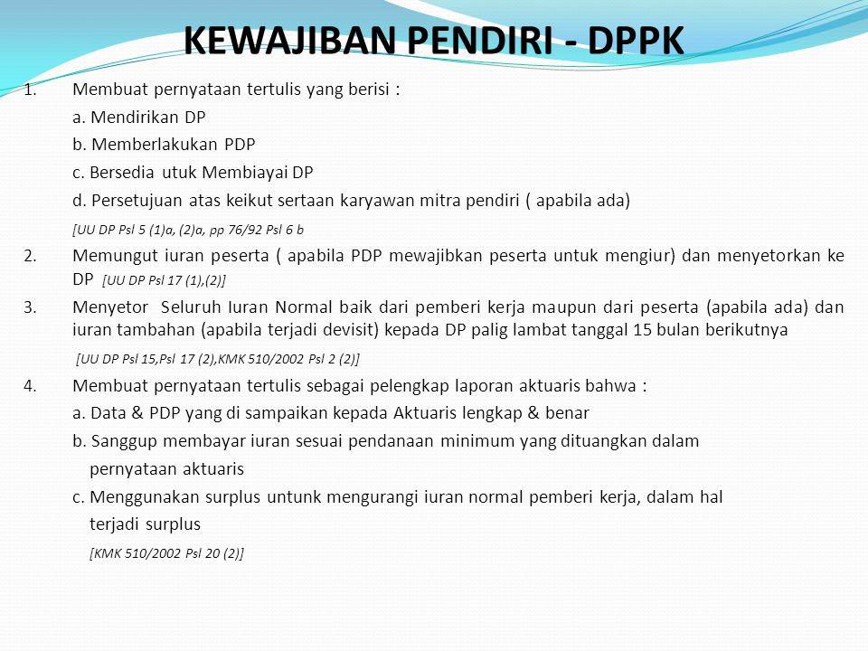 KEWAJIBAN PENDIRI - DPPK 1. Membuat pernyataan tertulis yang berisi : a. Mendirikan DP b. Memberlakukan PDP c. Bersedia utuk Membiayai DP d. Persetuju