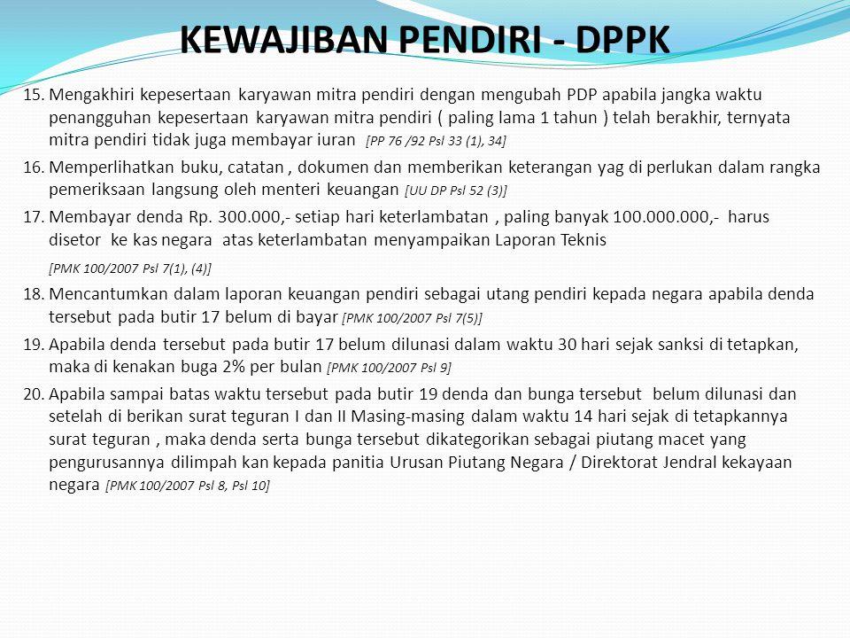 KEWAJIBAN PENDIRI - DPPK 15.