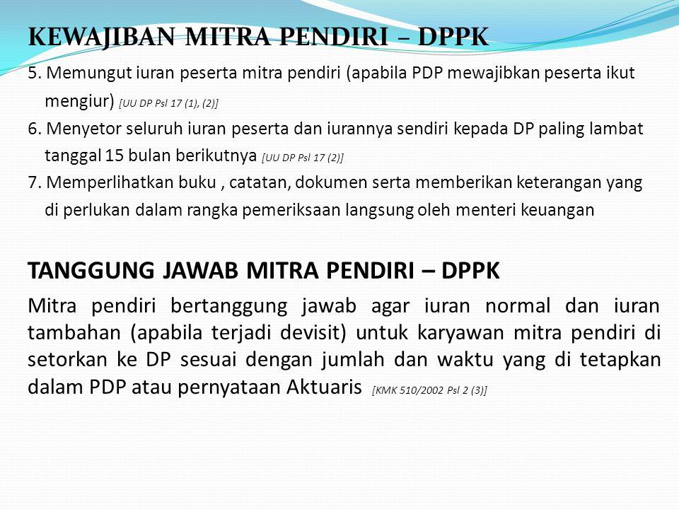 KEWAJIBAN MITRA PENDIRI – DPPK 5.