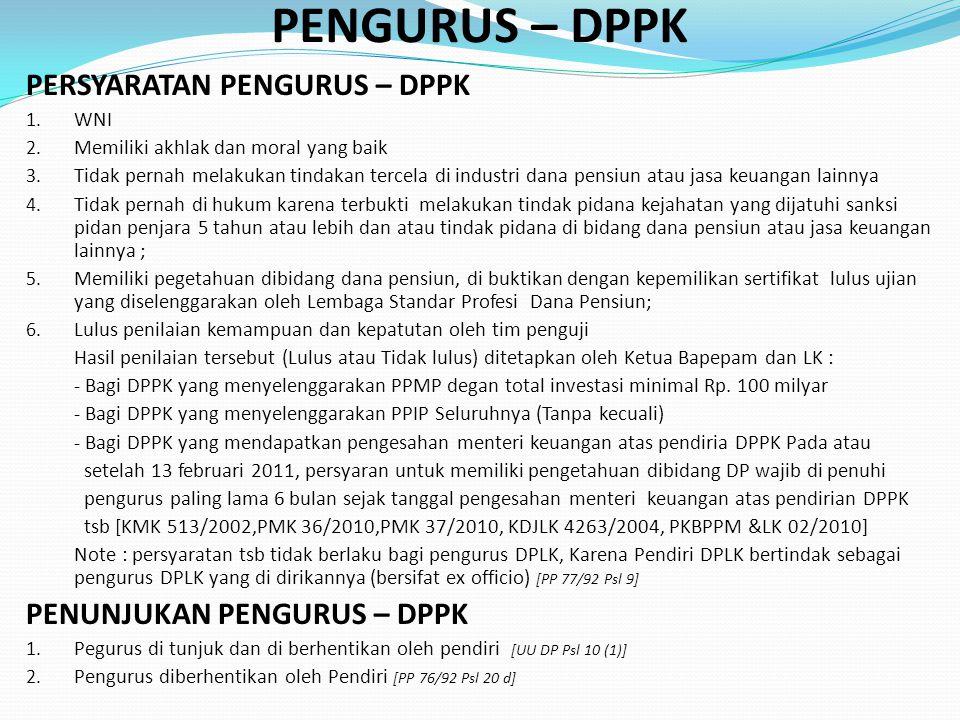 PENGURUS – DPPK PERSYARATAN PENGURUS – DPPK 1.WNI 2.