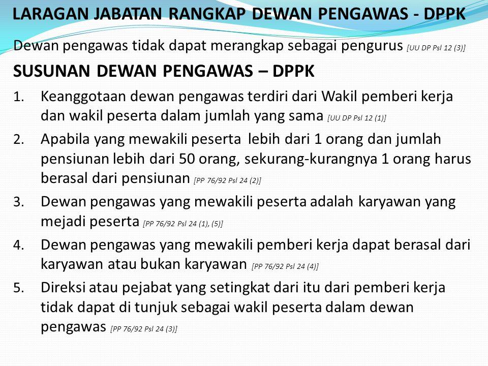 LARAGAN JABATAN RANGKAP DEWAN PENGAWAS - DPPK Dewan pengawas tidak dapat merangkap sebagai pengurus [UU DP Psl 12 (3)] SUSUNAN DEWAN PENGAWAS – DPPK 1.