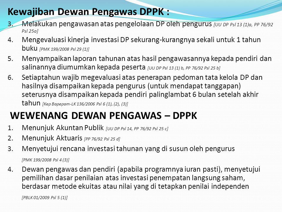 Kewajiban Dewan Pengawas DPPK : 3.