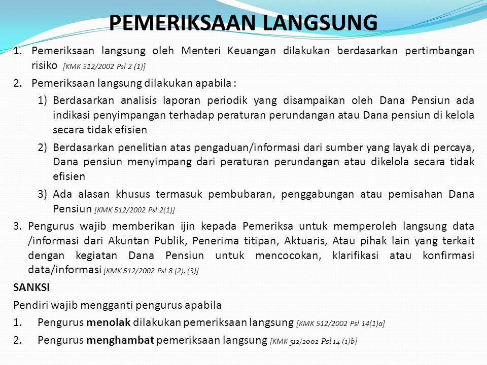 PEMERIKSAAN LANGSUNG 1.Pemeriksaan langsung oleh Menteri Keuangan dilakukan berdasarkan pertimbangan risiko [KMK 512/2002 Psl 2 (1)] 2.Pemeriksaan lan