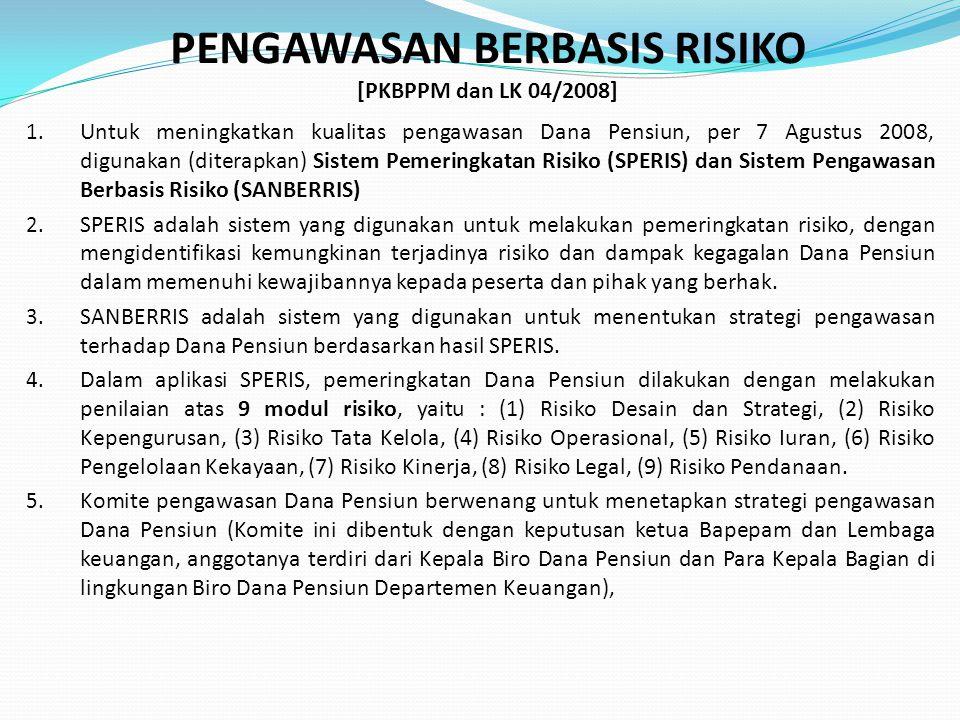 PENGAWASAN BERBASIS RISIKO [PKBPPM dan LK 04/2008] 1. Untuk meningkatkan kualitas pengawasan Dana Pensiun, per 7 Agustus 2008, digunakan (diterapkan)