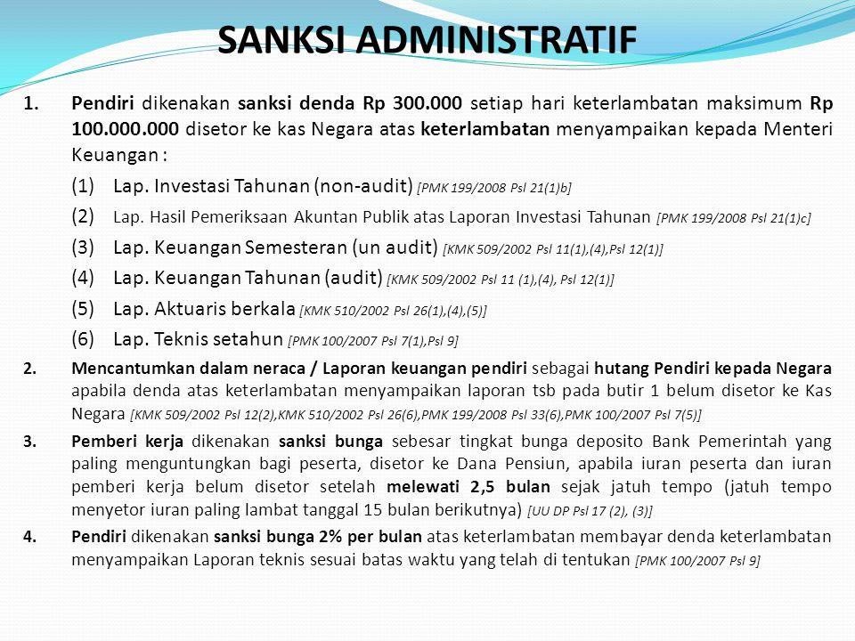 SANKSI ADMINISTRATIF 1. Pendiri dikenakan sanksi denda Rp 300.000 setiap hari keterlambatan maksimum Rp 100.000.000 disetor ke kas Negara atas keterla