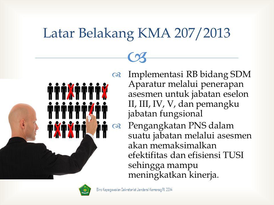  Biro Kepegawaian Sekretariat Jenderal Kemenag RI, 2014 Tujuan KMA 207/2013  sebagai acuan dalam penyelenggaraan asesmen kompetensi Kemenag  menjamin keseragaman dalam pelaksanaan asesmen kompetensi di lingkungan Kemenag secara tertib, transparan, objektif, & akuntabel  mewujudkan PNS Kemenag yang memiliki profil kompetensi sesuai dengan SKJ yang dipersyaratkan  menjamin mutu pelaksanaan asesmen kompetensi Kemenag yang reliabel dan akuntabel.
