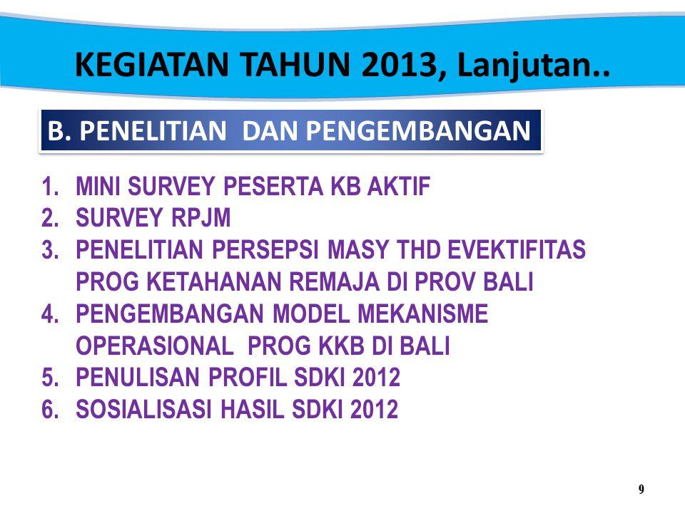 KEGIATAN TAHUN 2013, Lanjutan..