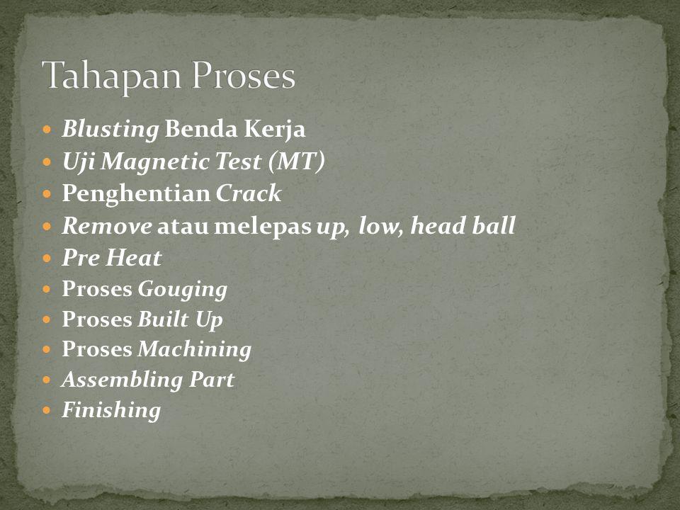 Blusting Benda Kerja Uji Magnetic Test (MT) Penghentian Crack Remove atau melepas up, low, head ball Pre Heat Proses Gouging Proses Built Up Proses Machining Assembling Part Finishing