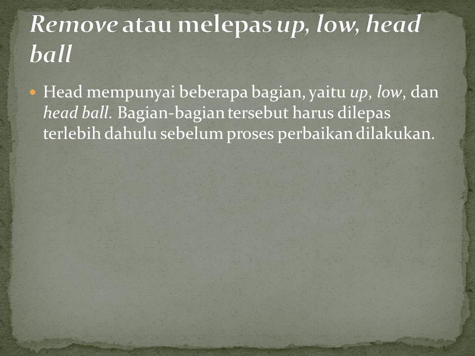 Head mempunyai beberapa bagian, yaitu up, low, dan head ball.