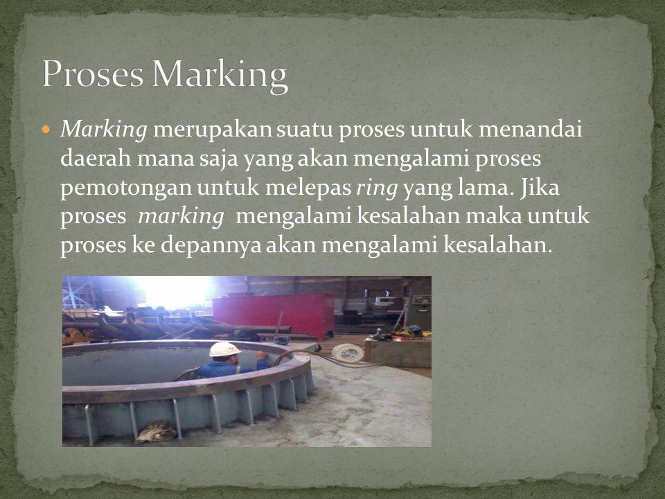Marking merupakan suatu proses untuk menandai daerah mana saja yang akan mengalami proses pemotongan untuk melepas ring yang lama.