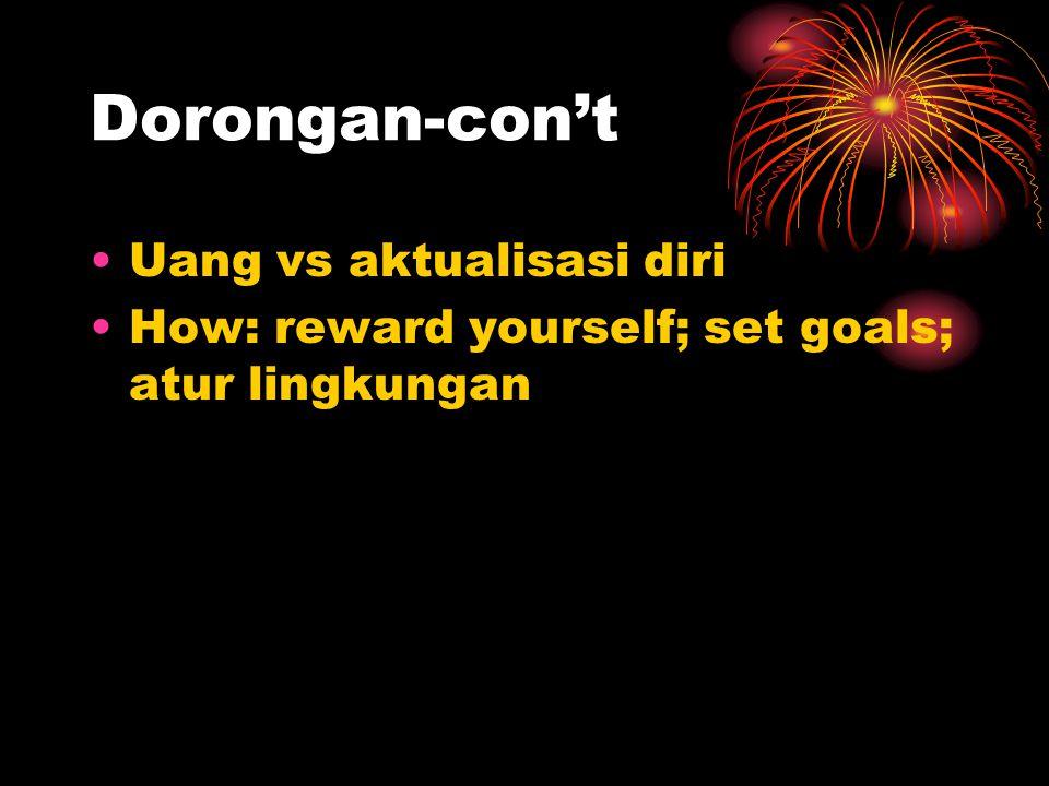 Dorongan-con't Uang vs aktualisasi diri How: reward yourself; set goals; atur lingkungan