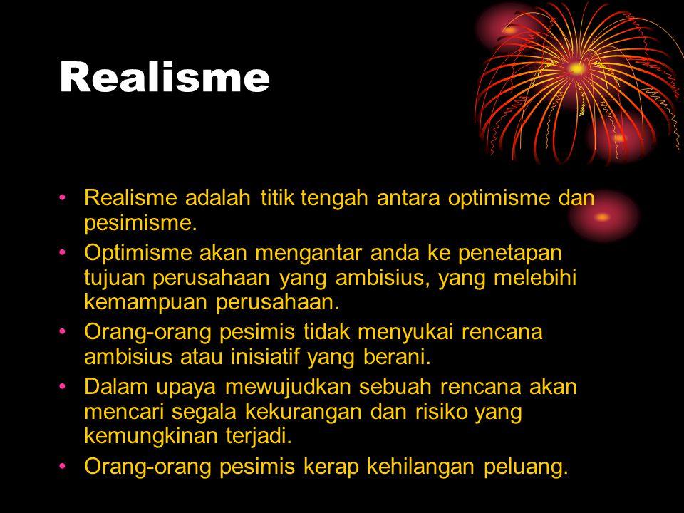 Realisme Realisme adalah titik tengah antara optimisme dan pesimisme. Optimisme akan mengantar anda ke penetapan tujuan perusahaan yang ambisius, yang
