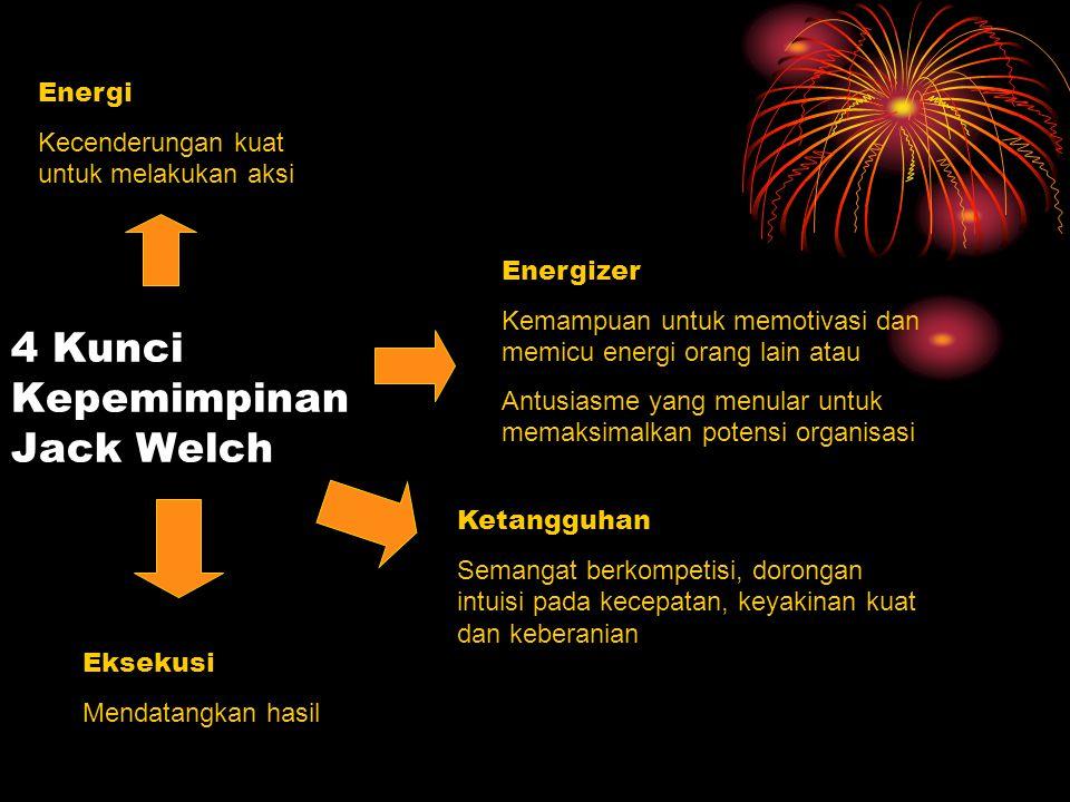 4 Kunci Kepemimpinan Jack Welch Energi Kecenderungan kuat untuk melakukan aksi Energizer Kemampuan untuk memotivasi dan memicu energi orang lain atau