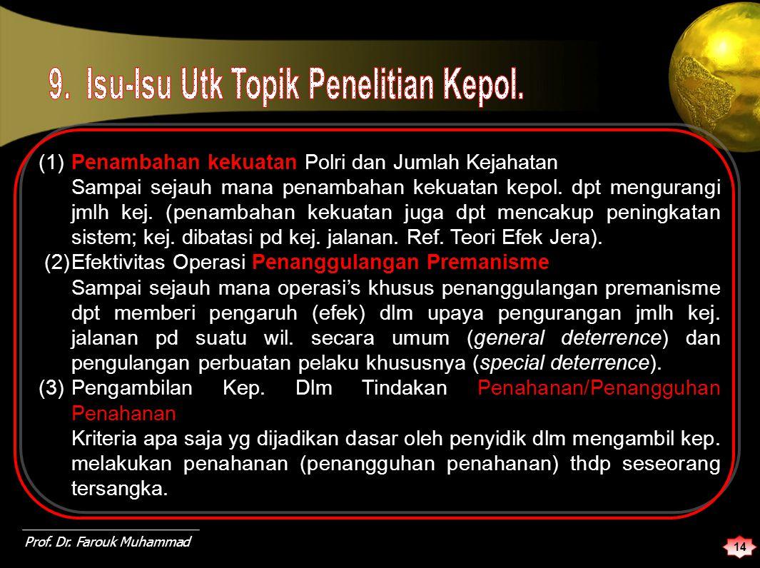 (1) Penambahan kekuatan Polri dan Jumlah Kejahatan Sampai sejauh mana penambahan kekuatan kepol.