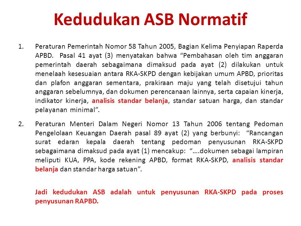 Kedudukan ASB Normatif 1.Peraturan Pemerintah Nomor 58 Tahun 2005, Bagian Kelima Penyiapan Raperda APBD.