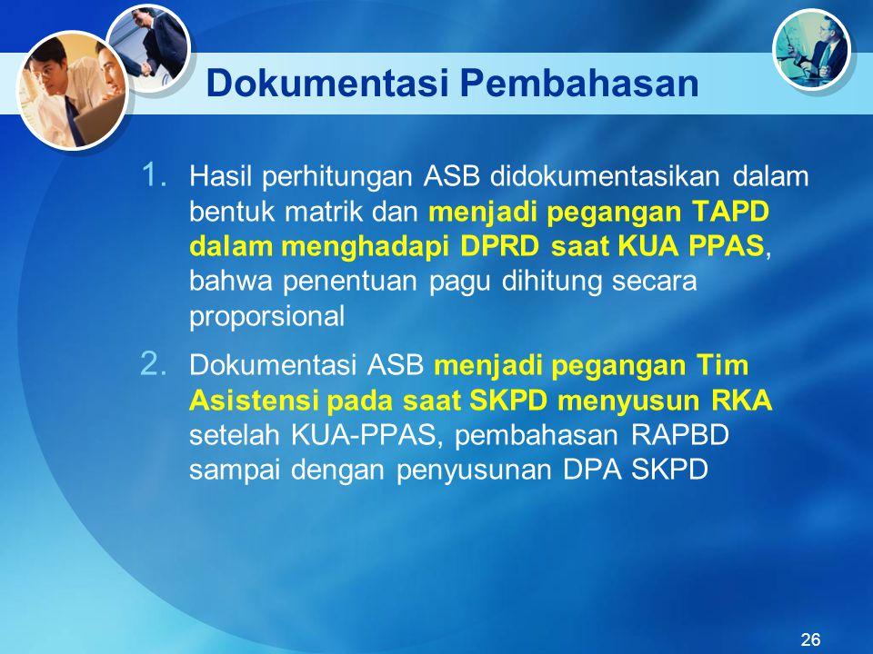 Dokumentasi Pembahasan 1. Hasil perhitungan ASB didokumentasikan dalam bentuk matrik dan menjadi pegangan TAPD dalam menghadapi DPRD saat KUA PPAS, ba
