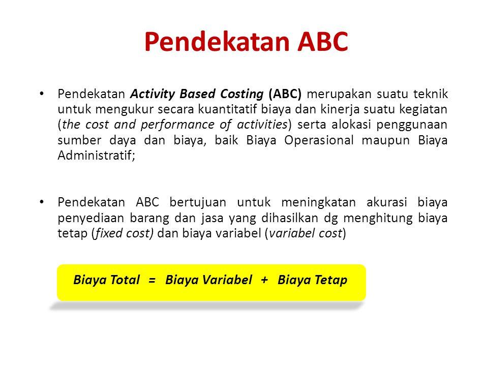 Pendekatan ABC Pendekatan Activity Based Costing (ABC) merupakan suatu teknik untuk mengukur secara kuantitatif biaya dan kinerja suatu kegiatan (the cost and performance of activities) serta alokasi penggunaan sumber daya dan biaya, baik Biaya Operasional maupun Biaya Administratif; Pendekatan ABC bertujuan untuk meningkatan akurasi biaya penyediaan barang dan jasa yang dihasilkan dg menghitung biaya tetap (fixed cost) dan biaya variabel (variabel cost) Biaya Total = Biaya Variabel + Biaya Tetap