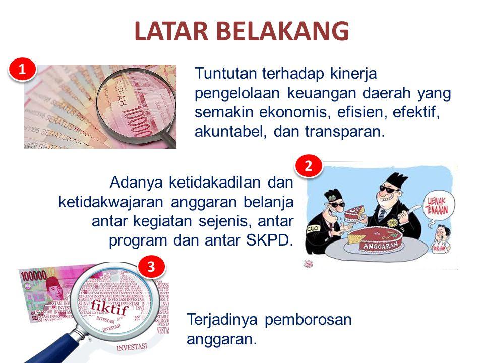 LATAR BELAKANG Tuntutan terhadap kinerja pengelolaan keuangan daerah yang semakin ekonomis, efisien, efektif, akuntabel, dan transparan. 1 1 Terjadiny