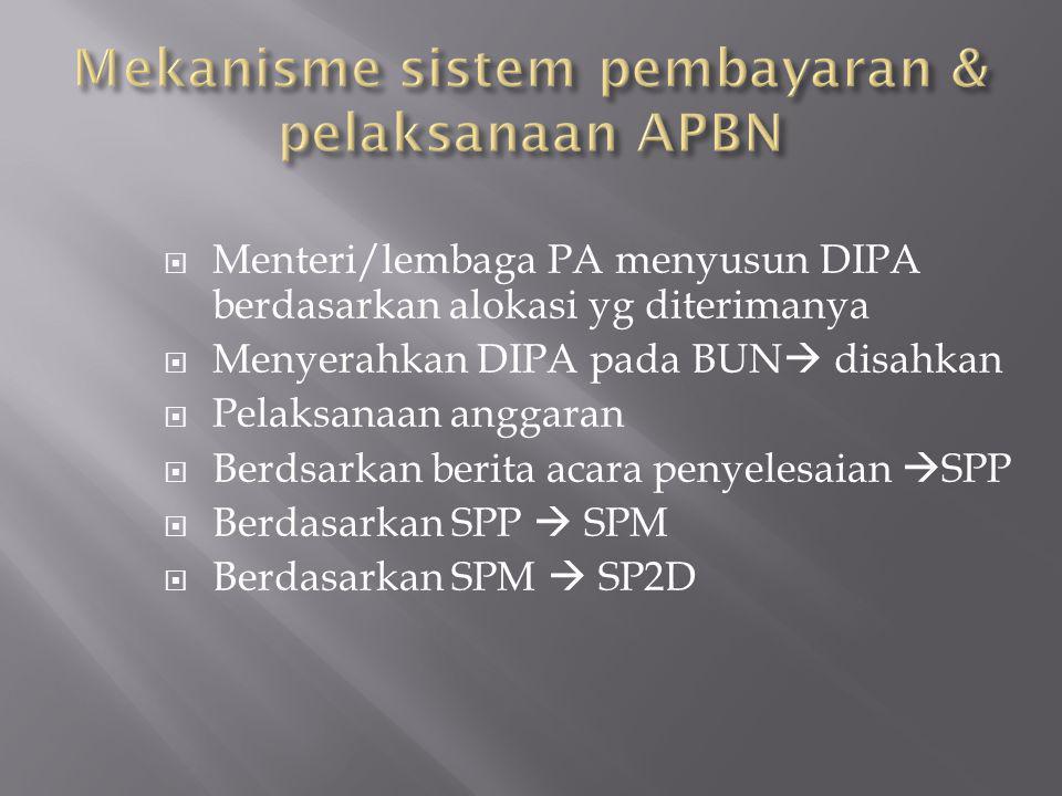  Menteri/lembaga PA menyusun DIPA berdasarkan alokasi yg diterimanya  Menyerahkan DIPA pada BUN  disahkan  Pelaksanaan anggaran  Berdsarkan berita acara penyelesaian  SPP  Berdasarkan SPP  SPM  Berdasarkan SPM  SP2D