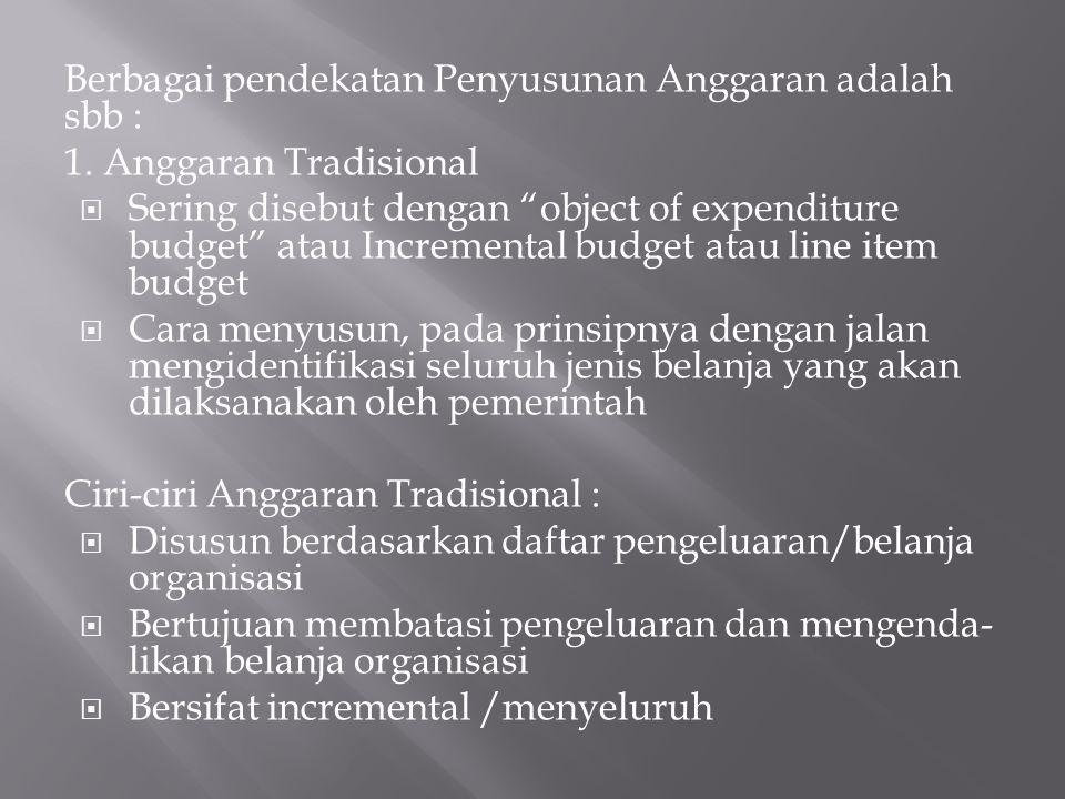 Berbagai pendekatan Penyusunan Anggaran adalah sbb : 1.