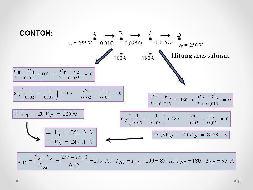 100A 0,01  0,025  0,015  A D BC 180A v D = 250 V v A = 255 V CONTOH: Hitung arus saluran 11