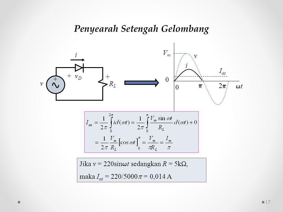 Penyearah Setengah Gelombang v i VmVm I as  22 0 tt 0 Jika v = 220sin  t sedangkan R = 5k , maka I as = 220/5000  = 0,014 A v + v D RLRL + i + 17