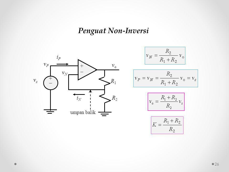 Penguat Non-Inversi ++ ++ iPiP iNiN vPvP vsvs vNvN R1R1 R2R2 vo vo umpan balik 26