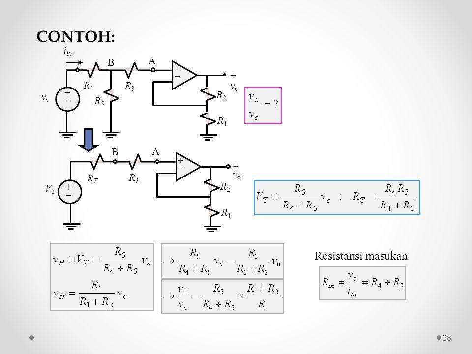 Resistansi masukan R2R2 ++ ++ + v o R1R1 R3R3 vsvs A i in R4R4 R5R5 B R2R2 ++ ++ +vo+vo R1R1 R3R3 VTVT A RTRT B CONTOH: 28