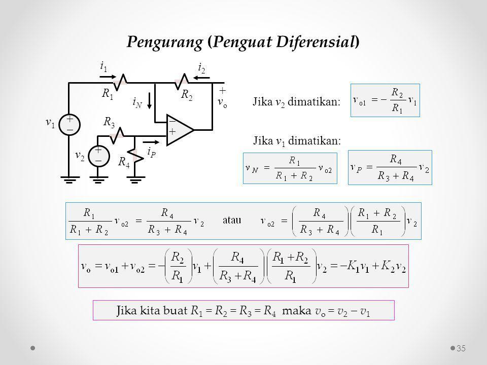 Pengurang (Penguat Diferensial) R3R3 ++ ++ i2i2 iNiN v2v2 R1R1 +vo+vo iPiP ++ v1v1 i1i1 R2R2 R4R4 Jika kita buat R 1 = R 2 = R 3 = R 4 maka v o = v 2  v 1 Jika v 2 dimatikan: Jika v 1 dimatikan: 35