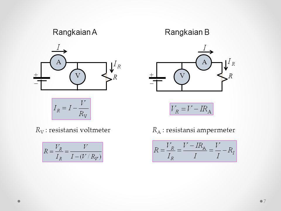 ++ A V R ++ A V R R V : resistansi voltmeter Rangkaian ARangkaian B R A : resistansi ampermeter 7