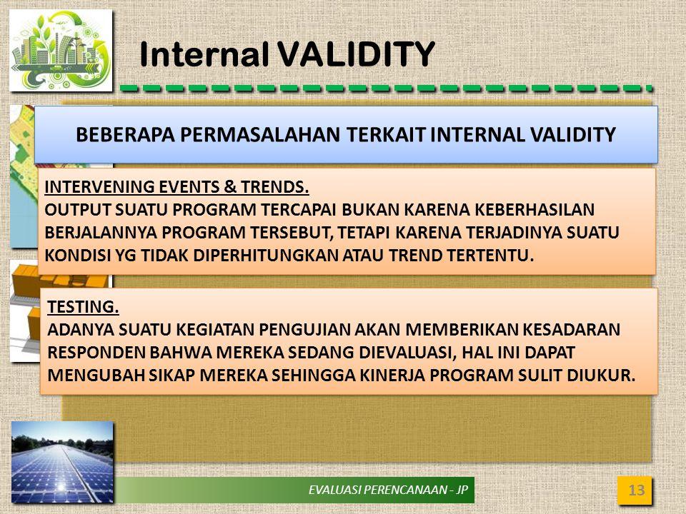 EVALUASI PERENCANAAN - JP Internal VALIDITY 13 BEBERAPA PERMASALAHAN TERKAIT INTERNAL VALIDITY INTERVENING EVENTS & TRENDS.