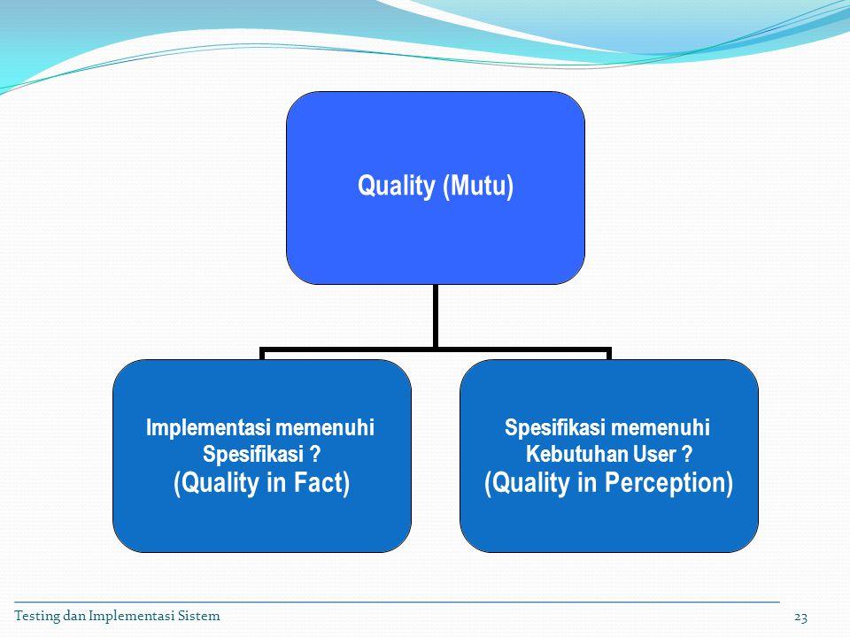 Testing dan Implementasi Sistem23 Quality (Mutu) Implementasi memenuhi Spesifikasi ? (Quality in Fact) Spesifikasi memenuhi Kebutuhan User ? (Quality