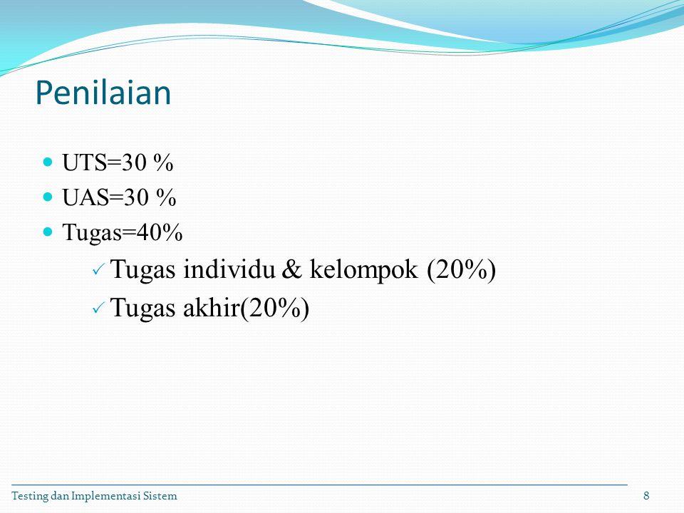 Penilaian UTS=30 % UAS=30 % Tugas=40%  Tugas individu & kelompok (20%)  Tugas akhir(20%) Testing dan Implementasi Sistem8