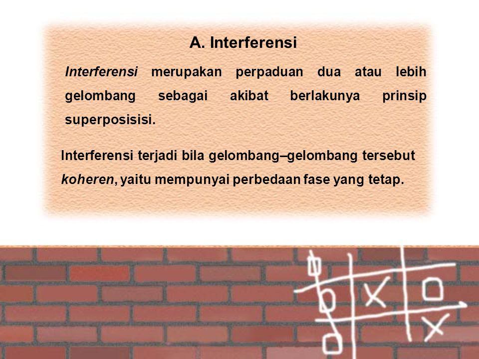 A. Interferensi Interferensi merupakan perpaduan dua atau lebih gelombang sebagai akibat berlakunya prinsip superposisisi. Interferensi terjadi bila g