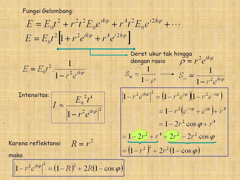 Fungsi Gelombang: … Deret ukur tak hingga dengan rasio Intensitas: Karena reflektansi maka