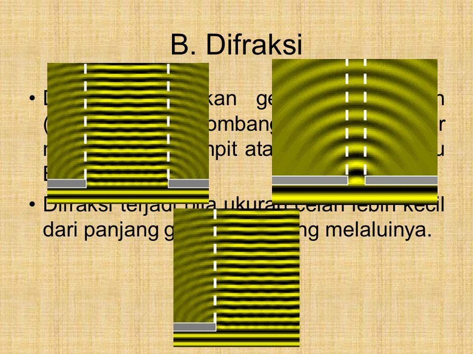 B. Difraksi Difraksi merupakan gejala pembelokan (penyebaran) gelombang ketika menjalar melalui celah sempit atau tepi tajam suatu Benda. Difraksi ter