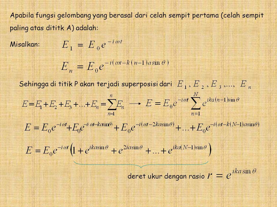 Apabila fungsi gelombang yang berasal dari celah sempit pertama (celah sempit paling atas dititk A) adalah: Misalkan: Sehingga di titik P akan terjadi superposisi dari deret ukur dengan rasio