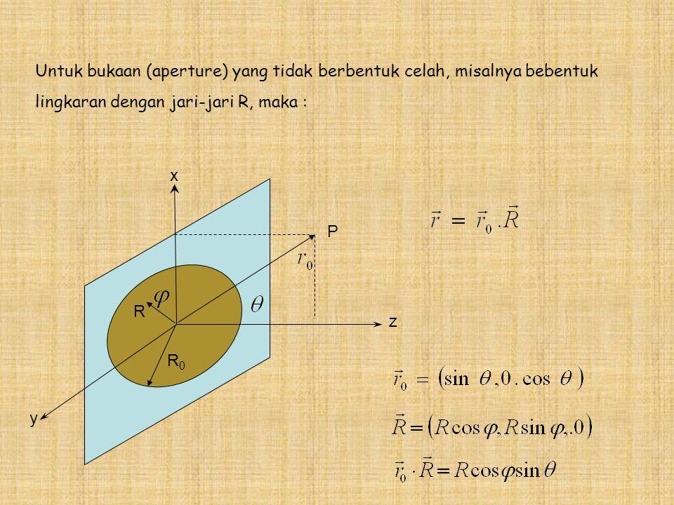 R z y x R0R0 P Untuk bukaan (aperture) yang tidak berbentuk celah, misalnya bebentuk lingkaran dengan jari-jari R, maka :