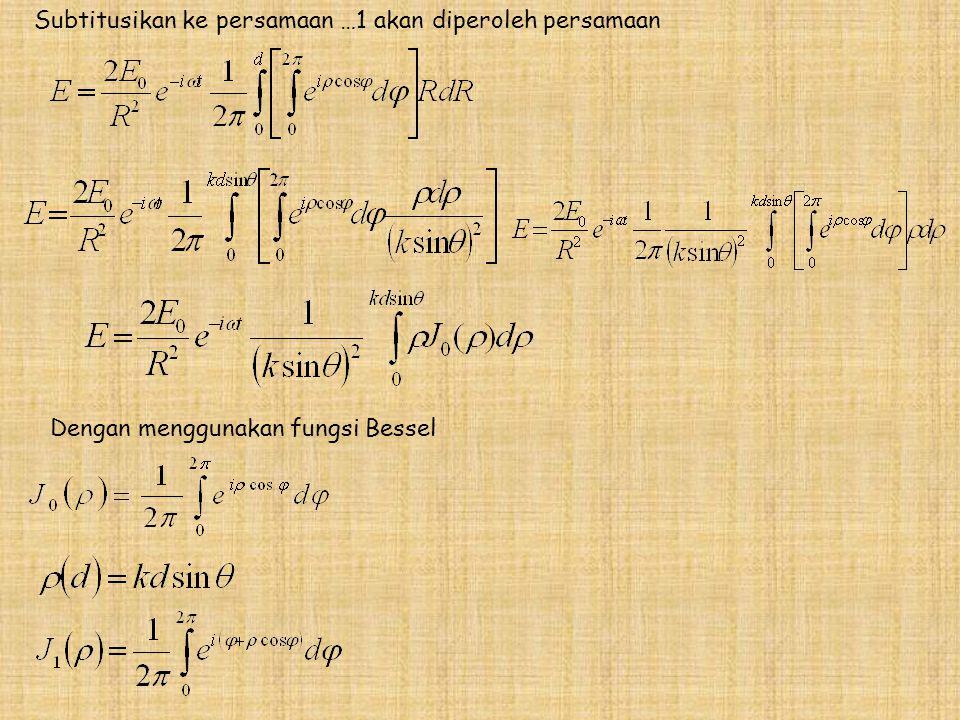 Subtitusikan ke persamaan …1 akan diperoleh persamaan Dengan menggunakan fungsi Bessel