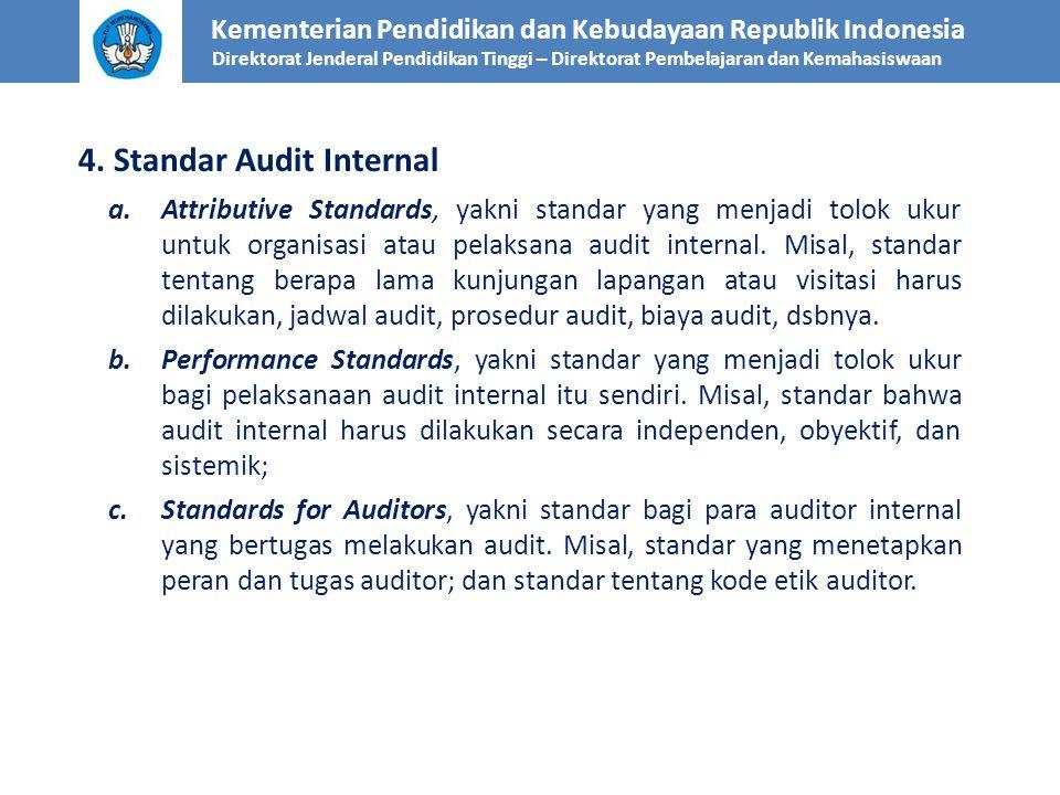 Kementerian Pendidikan dan Kebudayaan Republik Indonesia Direktorat Jenderal Pendidikan Tinggi – Direktorat Pembelajaran dan Kemahasiswaan 4. Standar
