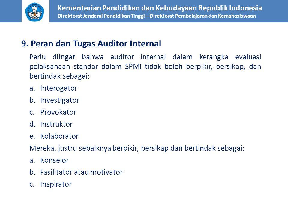 Kementerian Pendidikan dan Kebudayaan Republik Indonesia Direktorat Jenderal Pendidikan Tinggi – Direktorat Pembelajaran dan Kemahasiswaan 9. Peran da