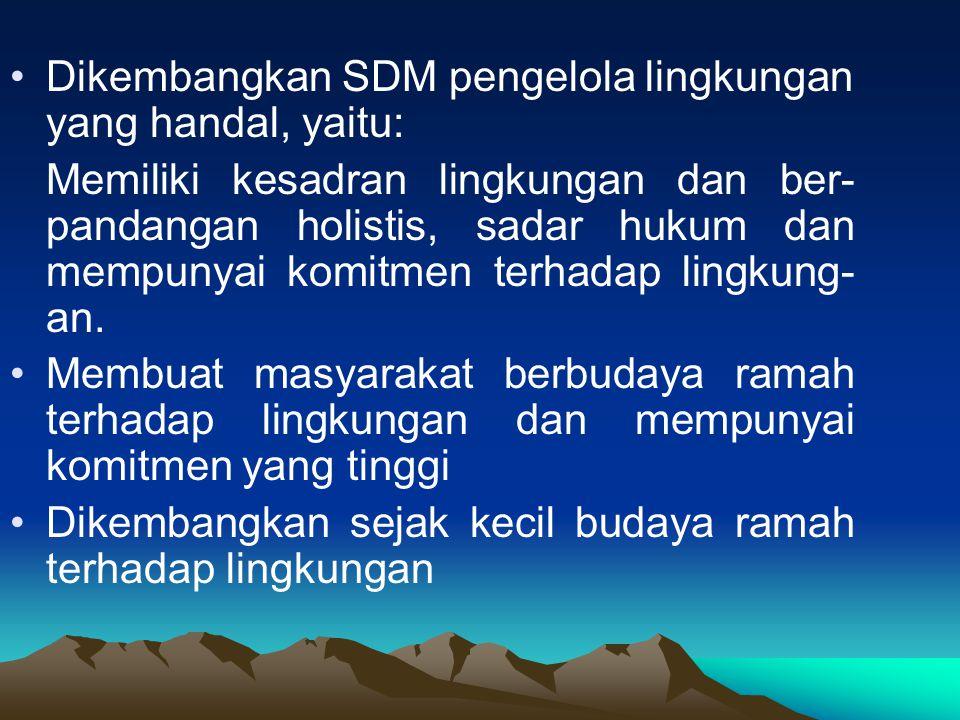 Dikembangkan SDM pengelola lingkungan yang handal, yaitu: Memiliki kesadran lingkungan dan ber- pandangan holistis, sadar hukum dan mempunyai komitmen